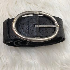 Accessories - Black and Silver Floral Embossed Leather Belt